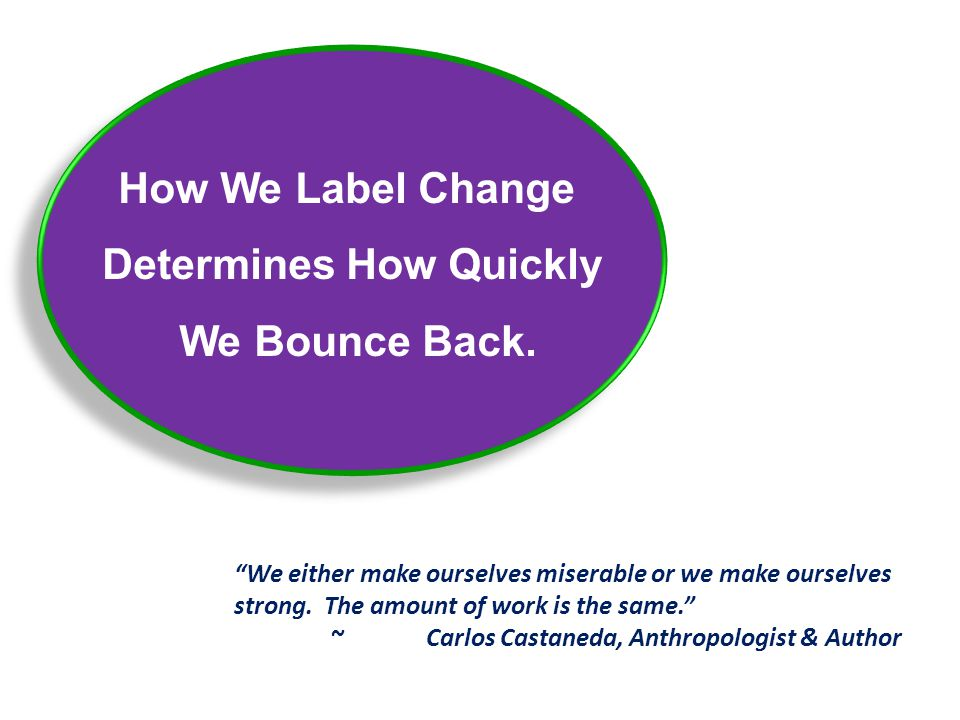 """How We Label Change Determines How Quickly We Bounce Back. How We Label Change Determines How Quickly We Bounce Back. """"We either make ourselves misera"""