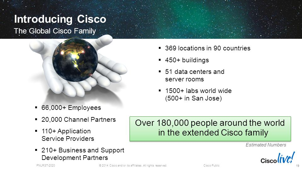 © 2014 Cisco and/or its affiliates. All rights reserved.PNLRST-2020Cisco Public Introducing Cisco The Global Cisco Family 19  369 locations in 90 cou