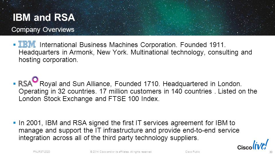 © 2014 Cisco and/or its affiliates. All rights reserved.PNLRST-2020Cisco Public IBM and RSA  International Business Machines Corporation. Founded 191