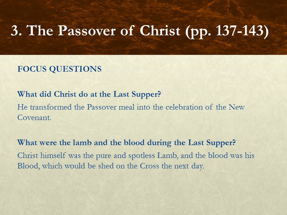 FOCUS QUESTIONS What did Christ do at the Last Supper.