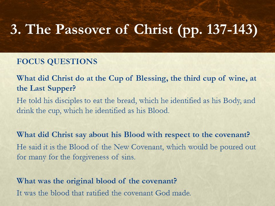 FOCUS QUESTIONS What did Christ do at the Cup of Blessing, the third cup of wine, at the Last Supper.