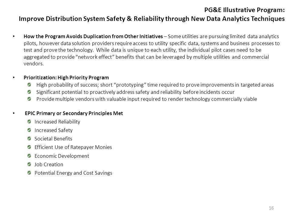 PG&E Illustrative Program: Improve Distribution System Safety & Reliability through New Data Analytics Techniques How the Program Avoids Duplication f