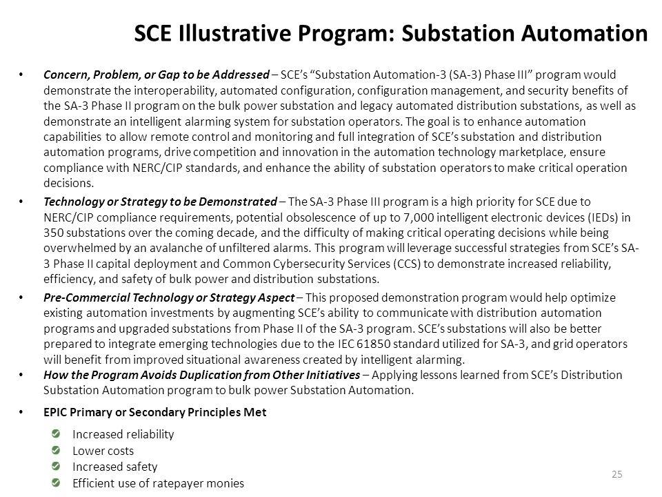 "SCE Illustrative Program: Substation Automation Concern, Problem, or Gap to be Addressed – SCE's ""Substation Automation-3 (SA-3) Phase III"" program wo"