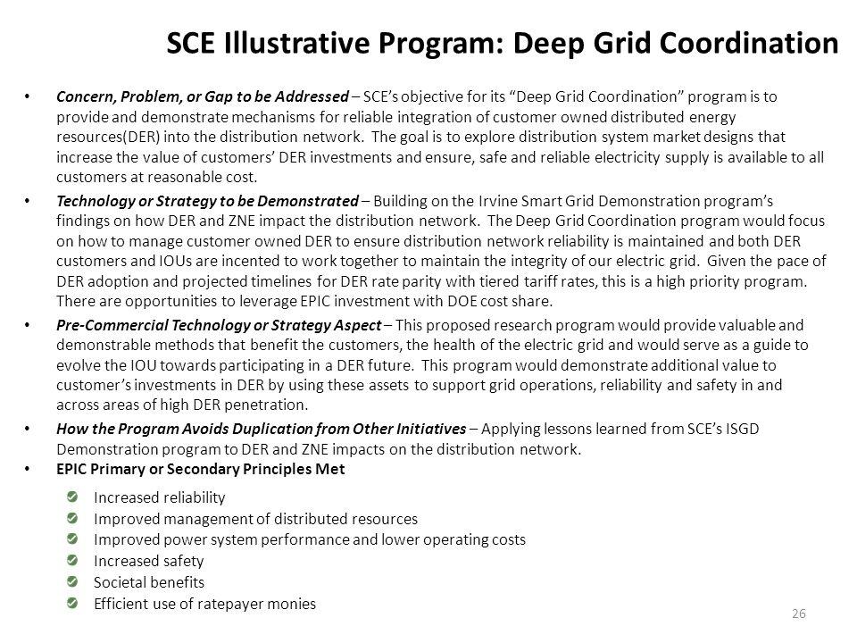 "SCE Illustrative Program: Deep Grid Coordination Concern, Problem, or Gap to be Addressed – SCE's objective for its ""Deep Grid Coordination"" program i"