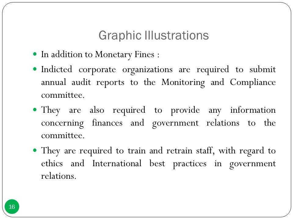 Graphic Illustrations In addition to Monetary Fines : Indicted corporate organizations are required to submit annual audit reports to the Monitoring a