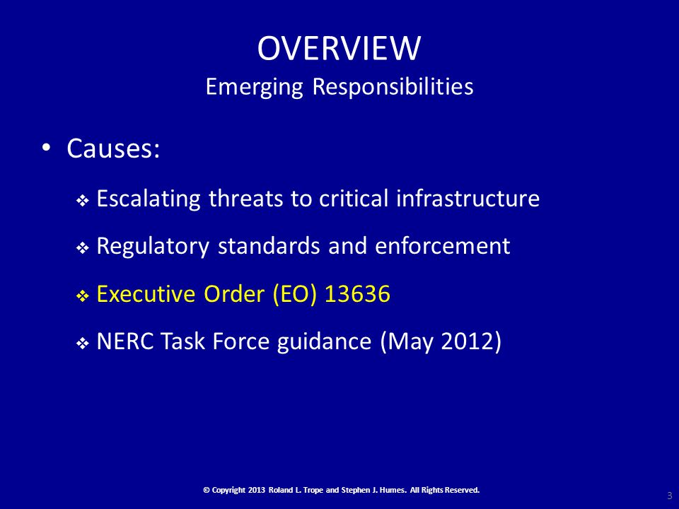 OVERVIEW Emerging Responsibilities Causes:  Escalating threats to critical infrastructure  Regulatory standards and enforcement  Executive Order (EO) 13636  NERC Task Force guidance (May 2012) © Copyright 2013 Roland L.