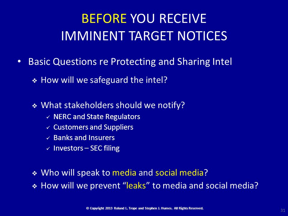 BEFORE YOU RECEIVE IMMINENT TARGET NOTICES Basic Questions re Protecting and Sharing Intel  How will we safeguard the intel.