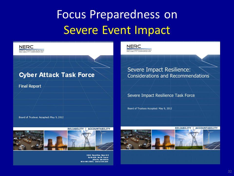 Focus Preparedness on Severe Event Impact 32