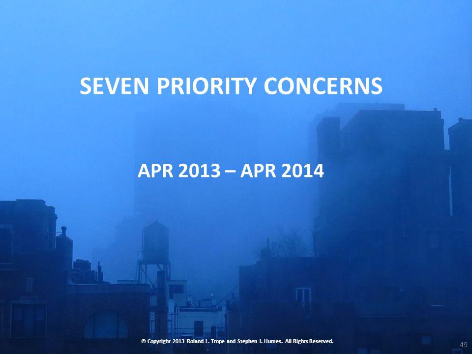 SEVEN PRIORITY CONCERNS APR 2013 – APR 2014 © Copyright 2013 Roland L.