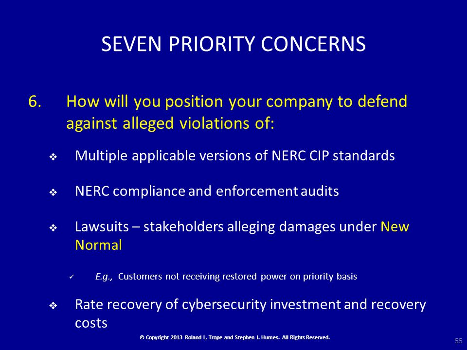 SEVEN PRIORITY CONCERNS 6.How will you position your company to defend against alleged violations of:  Multiple applicable versions of NERC CIP standards  NERC compliance and enforcement audits  Lawsuits – stakeholders alleging damages under New Normal E.g., Customers not receiving restored power on priority basis  Rate recovery of cybersecurity investment and recovery costs 55 © Copyright 2013 Roland L.