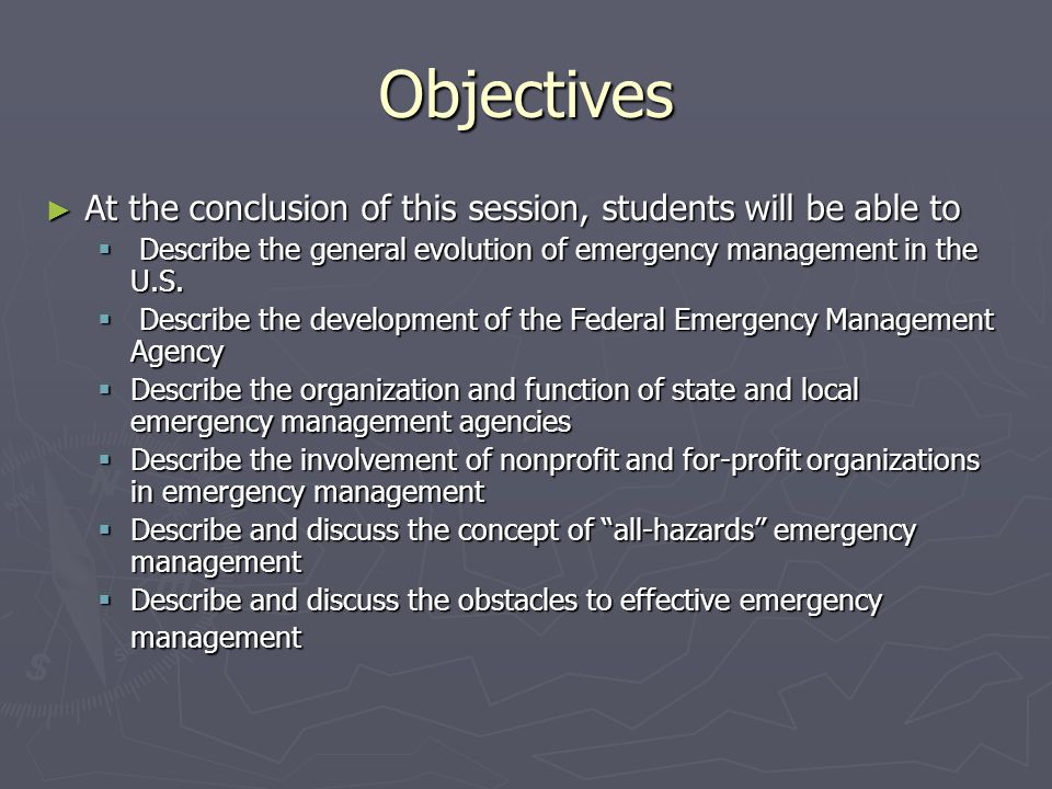 Organization of state and local emergency management offices The very unevenness of local capabilities has presented (and still presents) a major dilemma for state and federal emergency management officials.