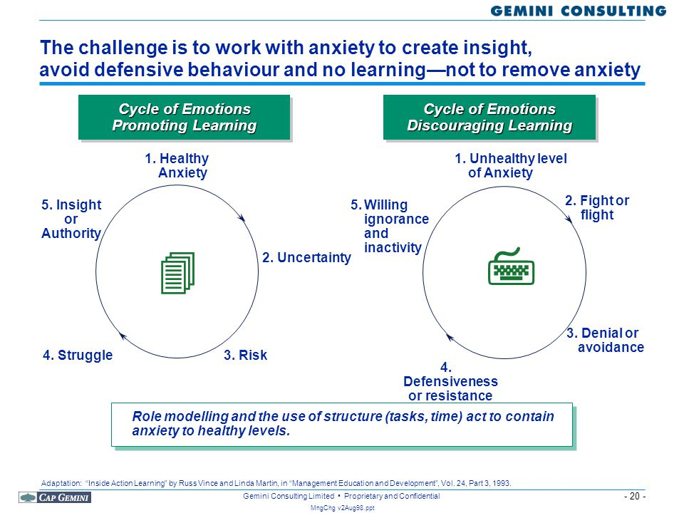 - 20 - MngChg v2Aug98.ppt Gemini Consulting Limited Proprietary and Confidential The challenge is to work with anxiety to create insight, avoid defens