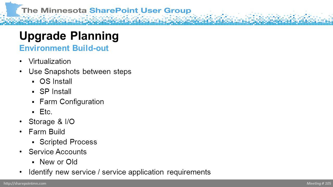 Meeting # 105http://sharepointmn.com Virtualization Use Snapshots between steps  OS Install  SP Install  Farm Configuration  Etc. Storage & I/O Fa