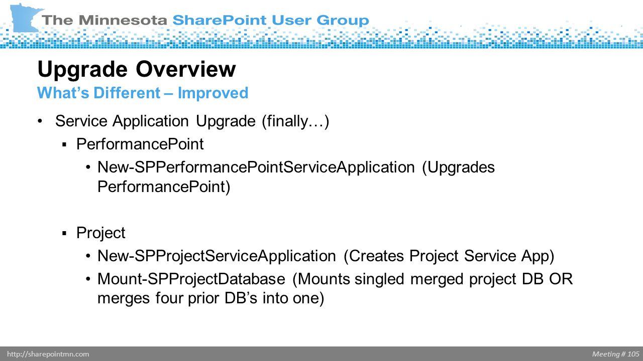 Meeting # 105http://sharepointmn.com Service Application Upgrade (finally…)  PerformancePoint New-SPPerformancePointServiceApplication (Upgrades Perf