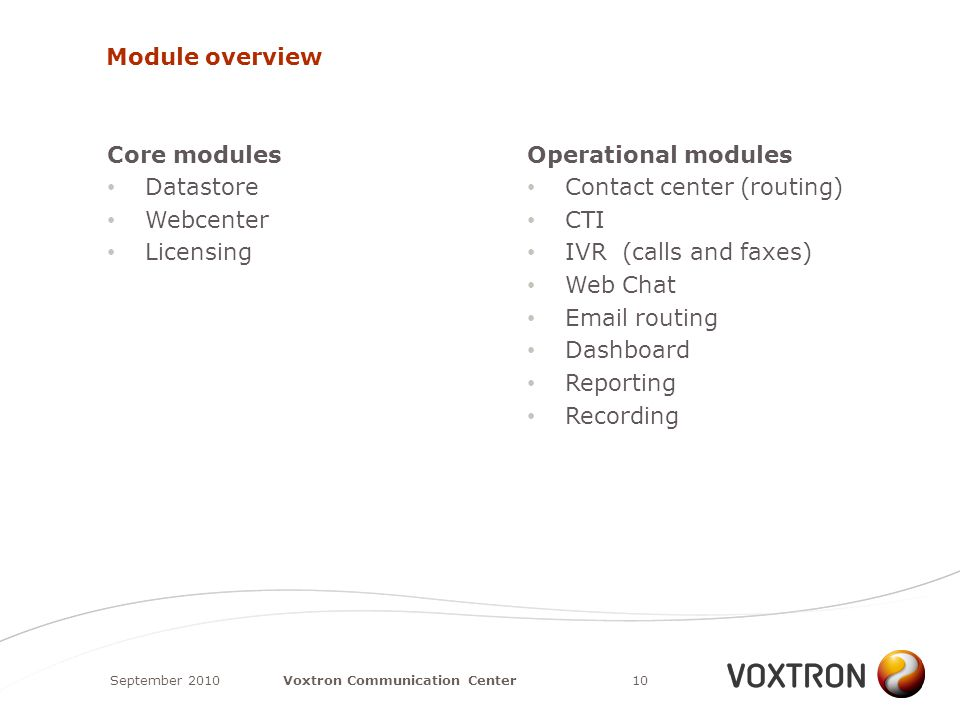 Module overview Core modules Datastore Webcenter Licensing Operational modules Contact center (routing) CTI IVR (calls and faxes) Web Chat Email routing Dashboard Reporting Recording September 201010Voxtron Communication Center