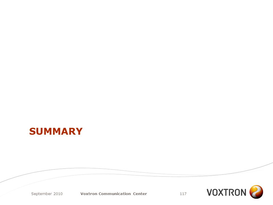 SUMMARY September 2010117Voxtron Communication Center