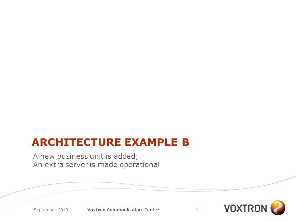 ARCHITECTURE EXAMPLE B September 201014Voxtron Communication Center A new business unit is added; An extra server is made operational