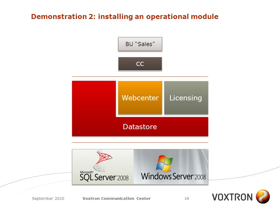 Demonstration 2: installing an operational module September 201019Voxtron Communication Center Datastore Webcenter Licensing CC BU Sales