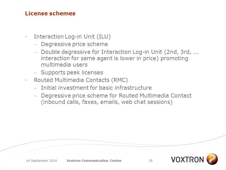 License schemes Interaction Log-in Unit (ILU) – Degressive price scheme – Double degressive for Interaction Log-in Unit (2nd, 3rd,...