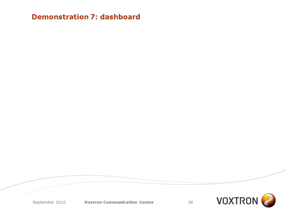 Demonstration 7: dashboard September 201058Voxtron Communication Center