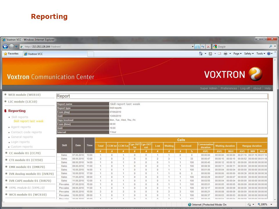 Reporting September 201062Voxtron Communication Center