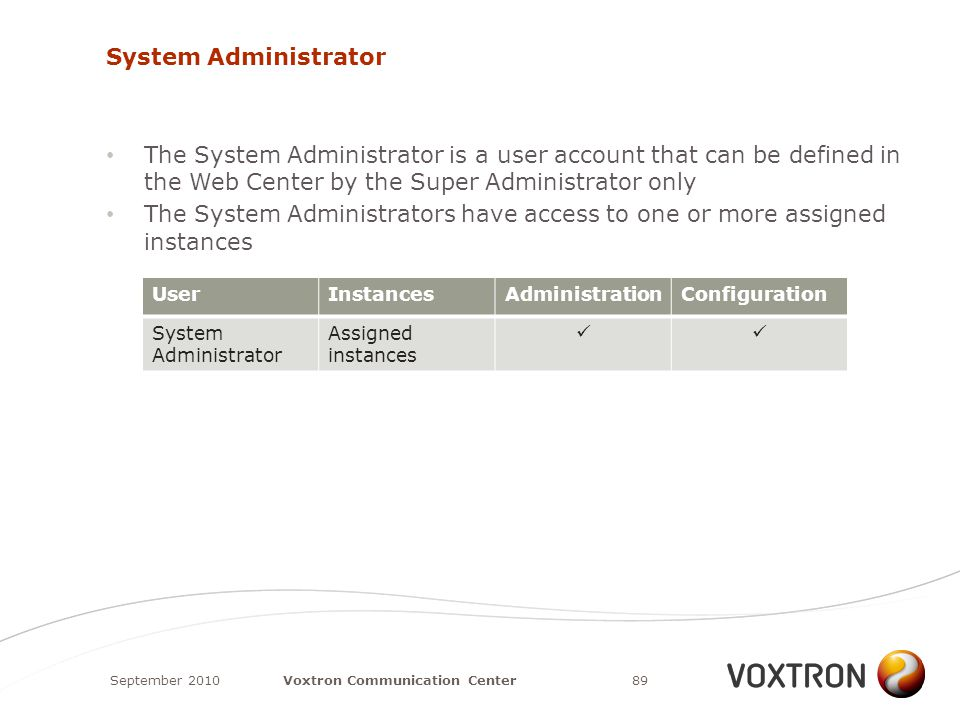 System Administrator The System Administrator is a user account that can be defined in the Web Center by the Super Administrator only The System Administrators have access to one or more assigned instances September 201089Voxtron Communication Center UserInstancesAdministrationConfiguration System Administrator Assigned instances