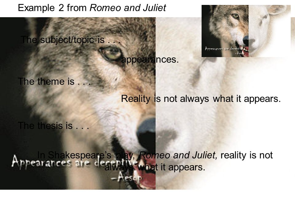 Example 2 from Romeo and Juliet The theme is... The thesis is... The subject/topic is... appearances. Reality is not always what it appears. In Shakes