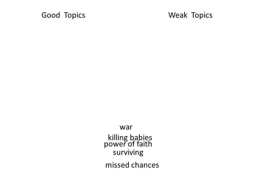 war Good TopicsWeak Topics killing babies power of faith surviving missed chances