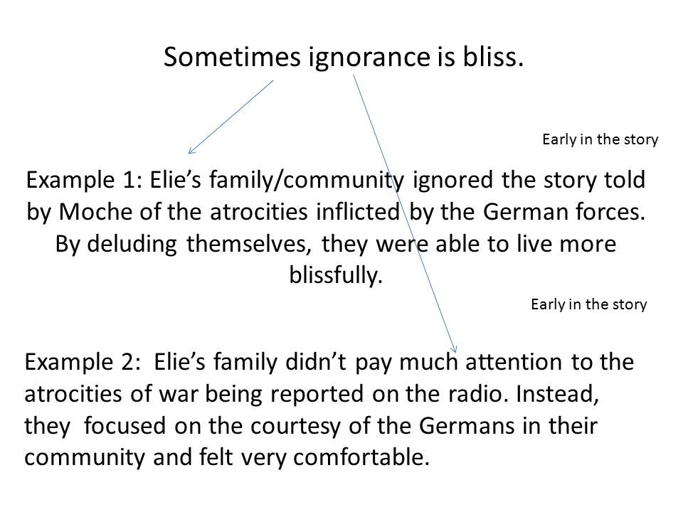 Example 2: Elie's family didn't pay much attention to the atrocities of war being reported on the radio. Instead, they focused on the courtesy of the