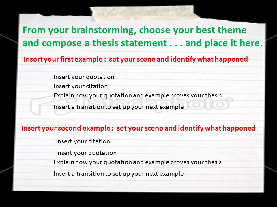 From your brainstorming, choose your best theme and compose a thesis statement... and place it here. Insert your first example : set your scene and id