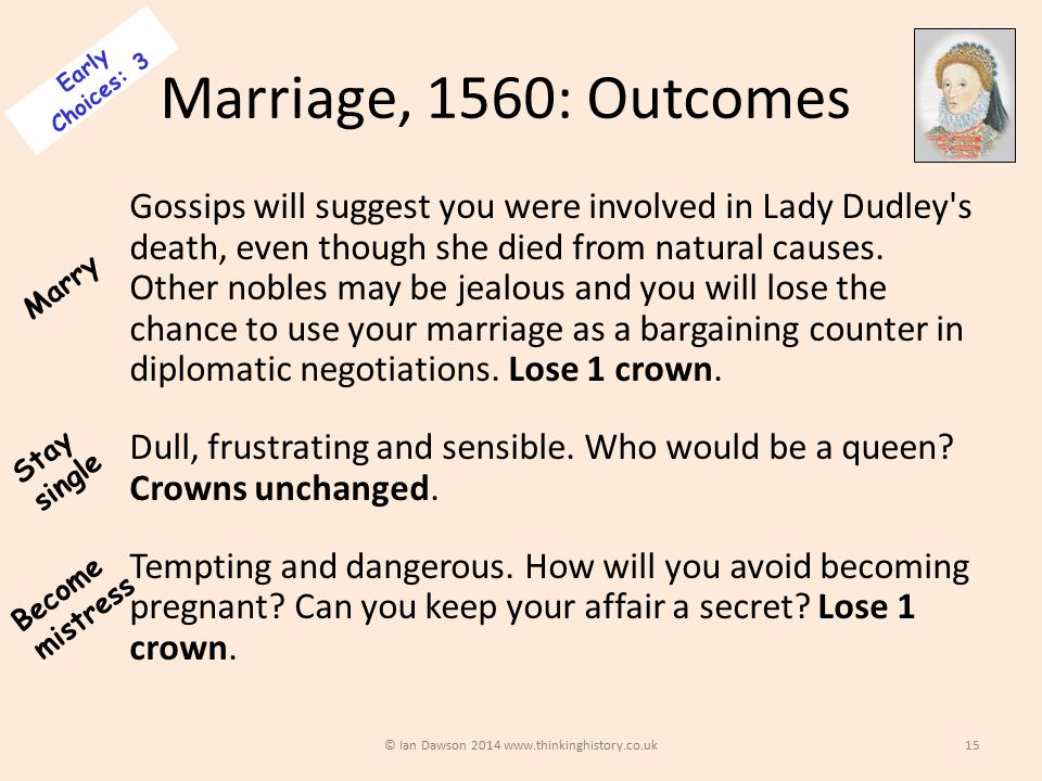 Marriage, 1560: Outcomes Gossips will suggest you were involved in Lady Dudley s death, even though she died from natural causes.