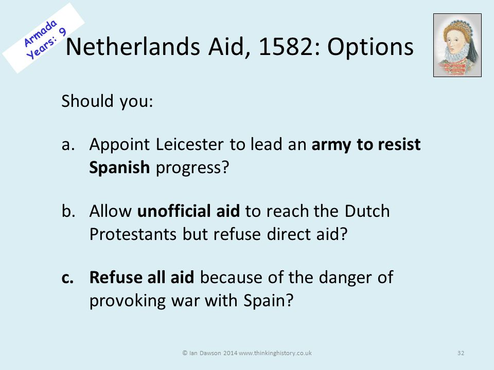 Netherlands Aid, 1582: Options Should you: a.Appoint Leicester to lead an army to resist Spanish progress.