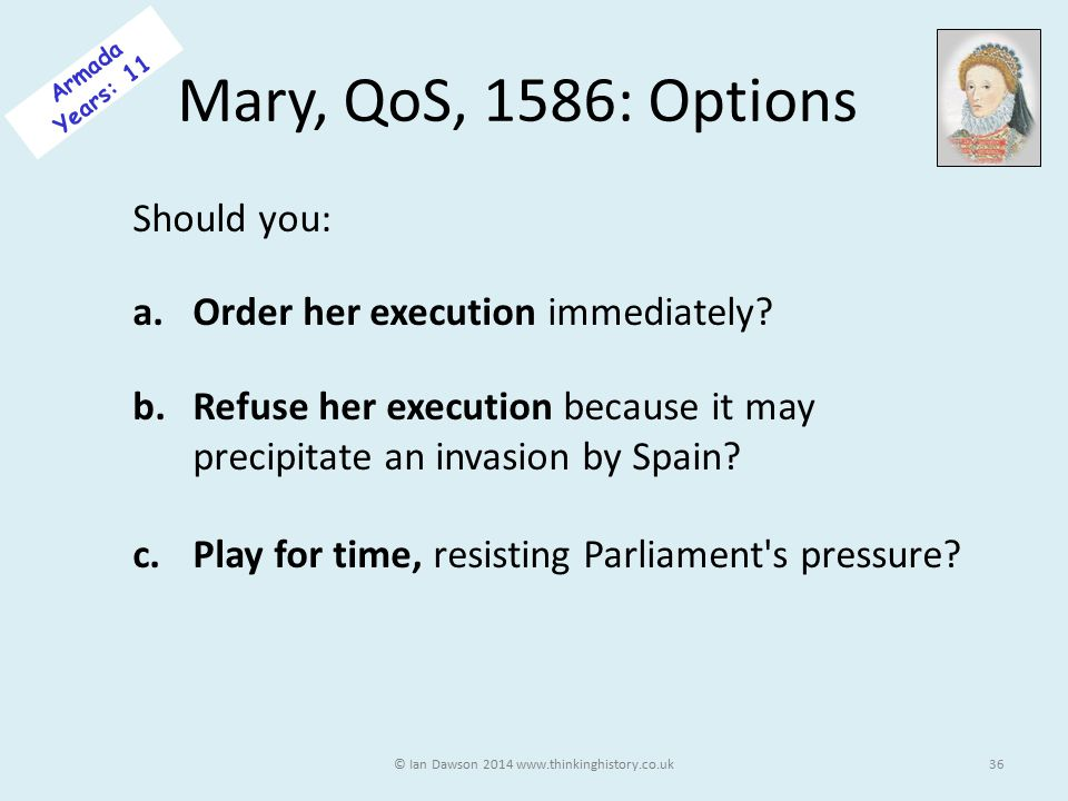 Mary, QoS, 1586: Options Should you: a.Order her execution immediately.