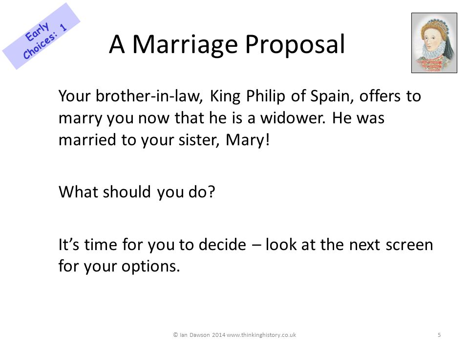 A Marriage Proposal Your brother-in-law, King Philip of Spain, offers to marry you now that he is a widower.
