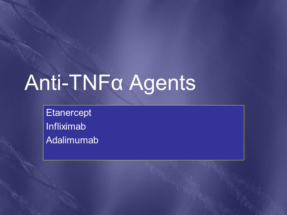 Anti-TNFα Agents Etanercept Infliximab Adalimumab
