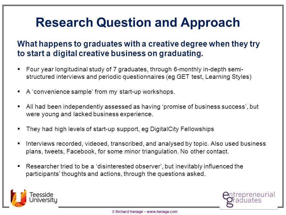 © Richard Hanage – www.hanage.com Research Question and Approach What happens to graduates with a creative degree when they try to start a digital creative business on graduating.