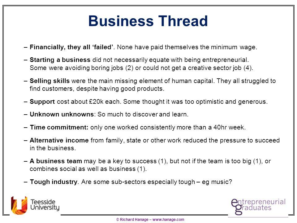 © Richard Hanage – www.hanage.com Personal/Creative Threads Personal Thread –School/Uni behaviours were good indicators of business behaviours.