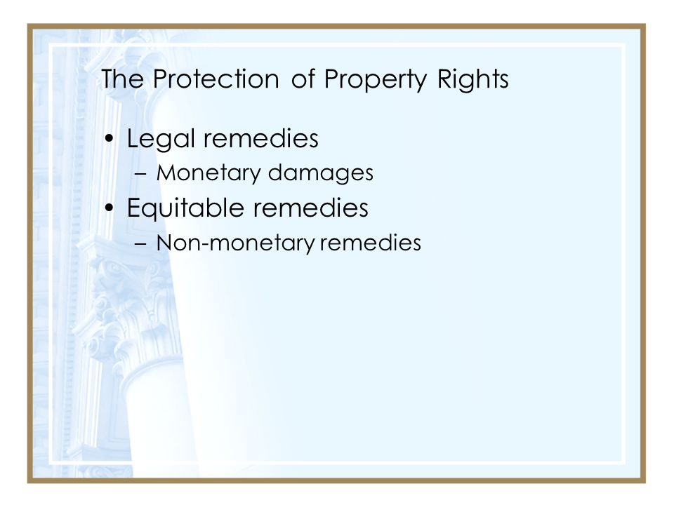 The Protection of Property Rights Legal remedies –Monetary damages Equitable remedies –Non-monetary remedies