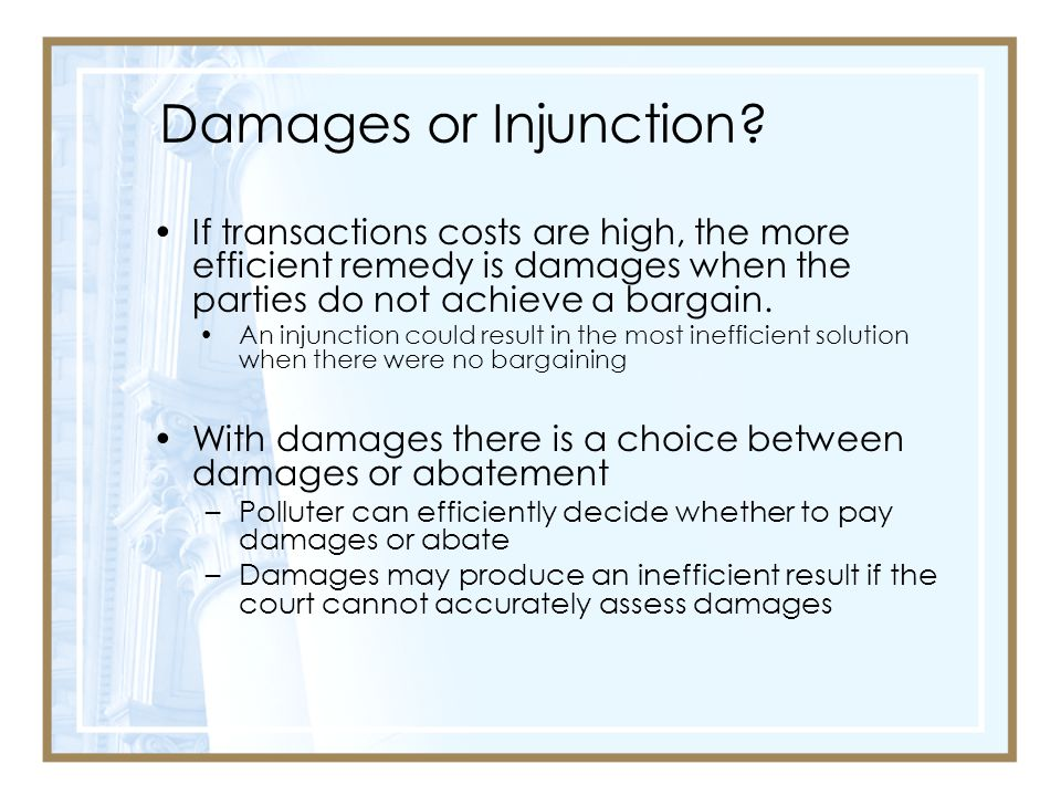 Damages or Injunction.