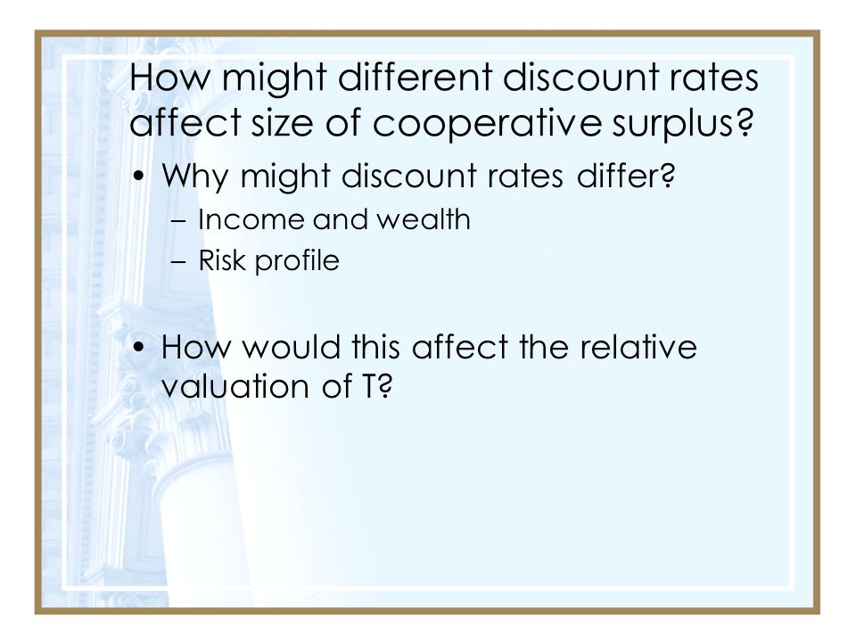 How might different discount rates affect size of cooperative surplus.