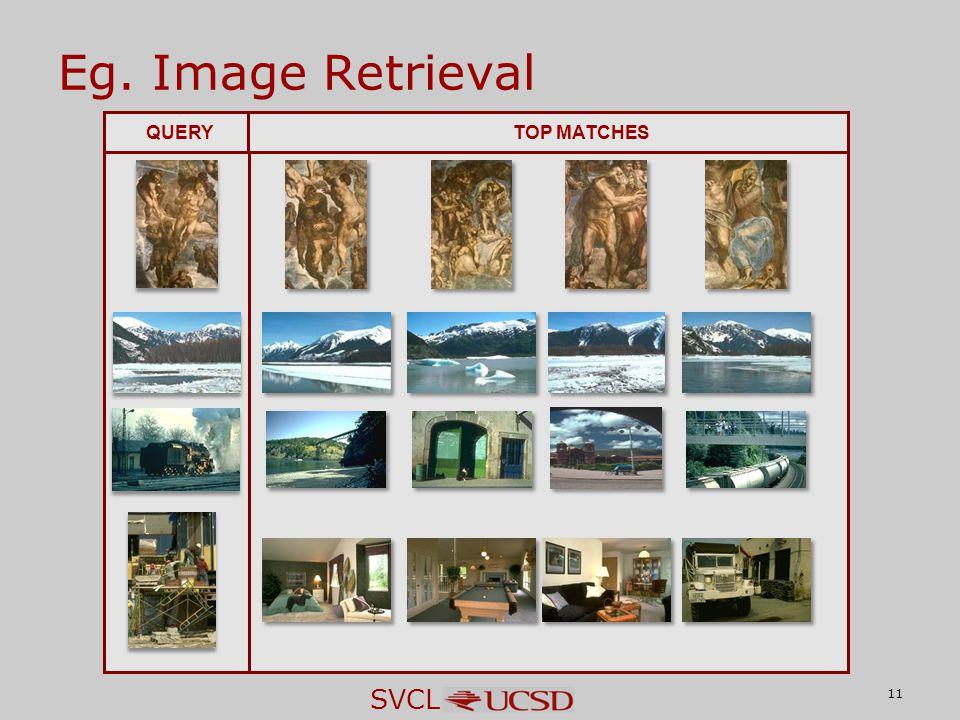 SVCL Eg. Image Retrieval 11 QUERYTOP MATCHES