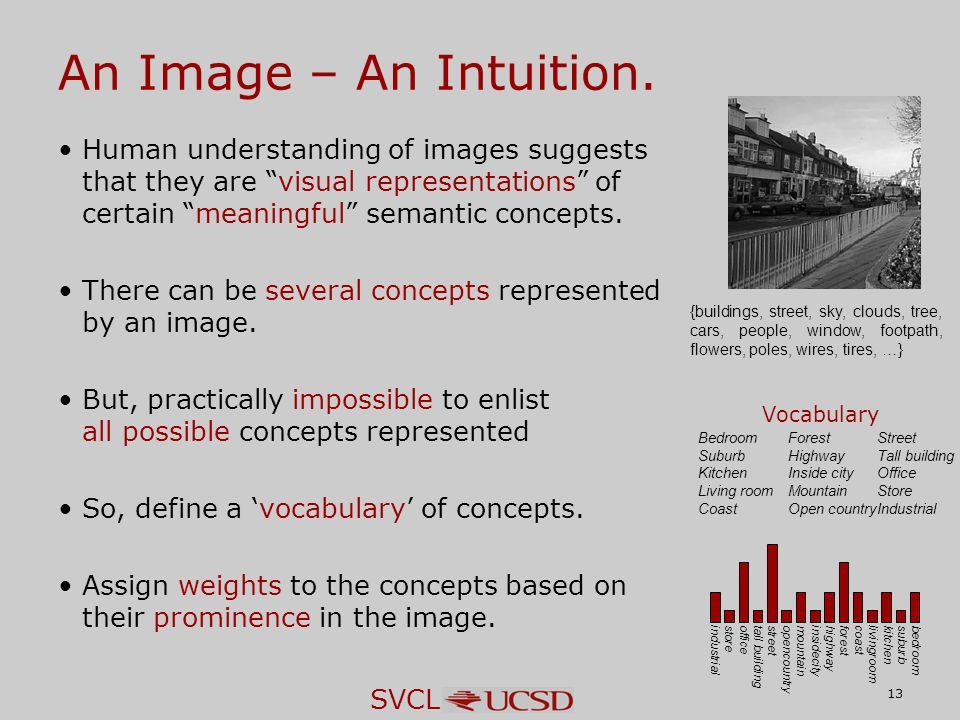 SVCL Human understanding of images suggests that they are visual representations of certain meaningful semantic concepts.