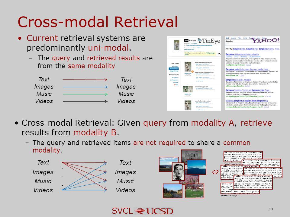 SVCL 30 Cross-modal Retrieval Current retrieval systems are predominantly uni-modal.