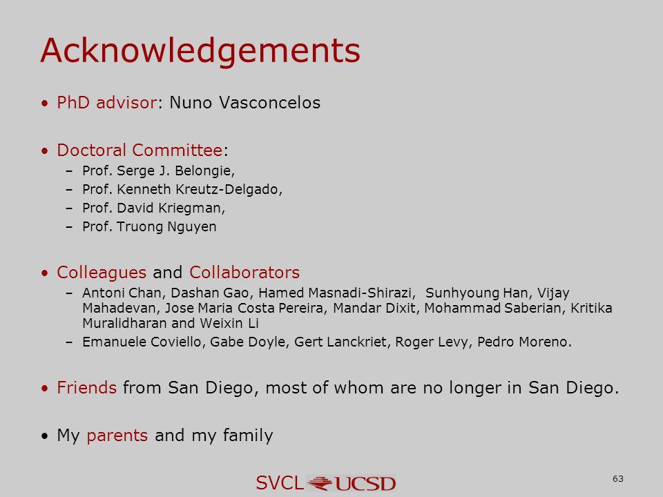 SVCL Acknowledgements PhD advisor: Nuno Vasconcelos Doctoral Committee: –Prof.