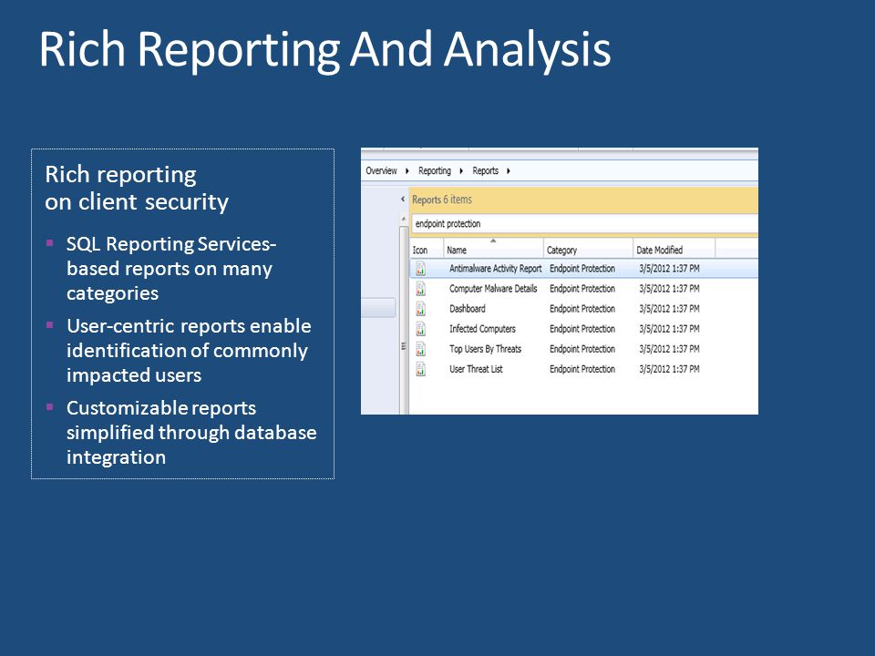 Rich reporting on client security  SQL Reporting Services- based reports on many categories  User-centric reports enable identification of commonly