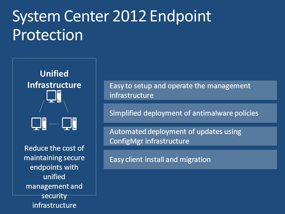 Unified Infrastructure Reduce the cost of maintaining secure endpoints with unified management and security infrastructure Easy to setup and operate t