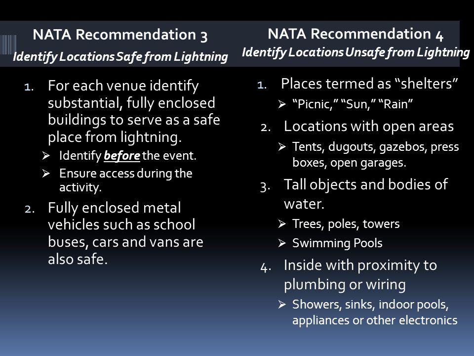 NATA Recommendation 3 Identify Locations Safe from Lightning NATA Recommendation 4 Identify Locations Unsafe from Lightning 1. For each venue identify