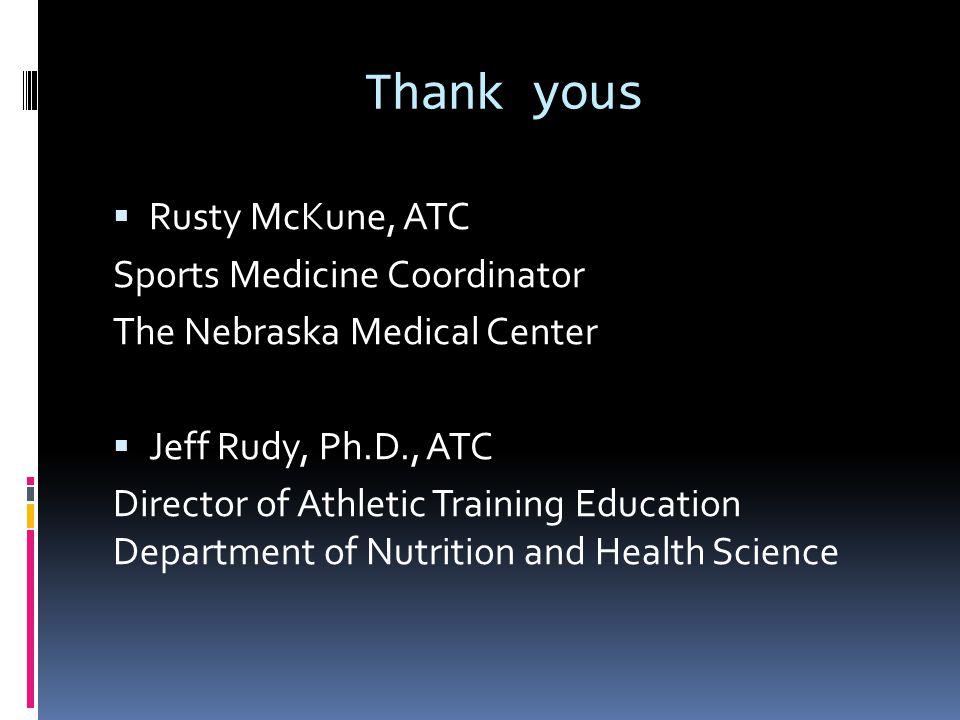Thank yous  Rusty McKune, ATC Sports Medicine Coordinator The Nebraska Medical Center  Jeff Rudy, Ph.D., ATC Director of Athletic Training Education