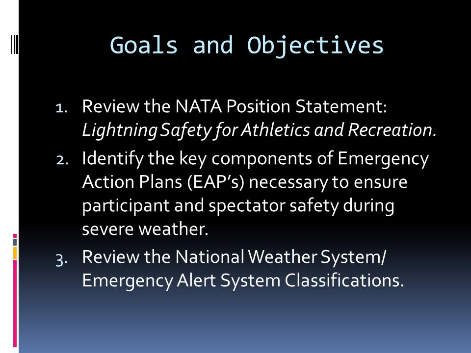 Supporting Documents http://www.nata.org/sites/default/files/2013_li ghtning-position-statement.pdf http://www.csm-institute.com/NOAA_-_Large_Venues.pdf