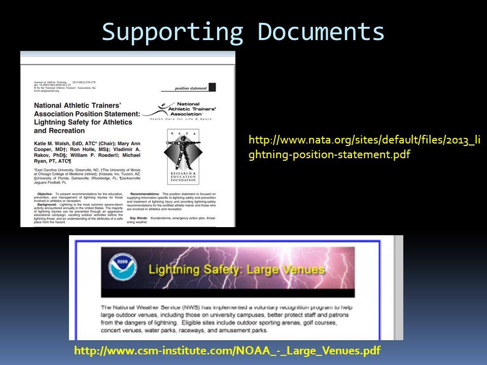 NATA Recommendation 3 Identify Locations Safe from Lightning NATA Recommendation 4 Identify Locations Unsafe from Lightning 1.